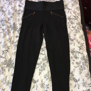 Zara Black Leggings with Zipper Detail